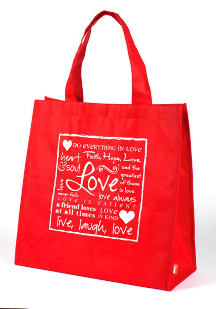 Red ''Love'' Written Reflections Tote Bag, 1 Dozen.