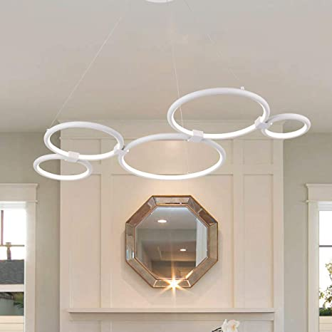 Amazon.com: Moderna lámpara de araña circular LED simple ...