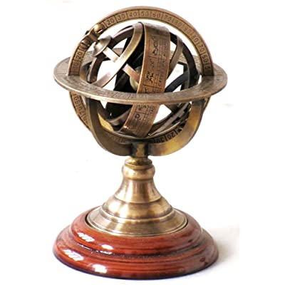 "Nautical Collectible Home Decor Table Top 5"" Zodiac Sphere Globe Solid Brass Armillary Sphere: Office Products"