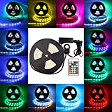 TORCHSTAR IP68 Waterproof Dreamy LED Strip Light Kit, 16.4ft/5M ETL listed RGB Color Chasing Flexible LED Tape Light w/24-key Remote Controller, UL listed Adapter for Indoor/Outdoor, Cove, Deck light