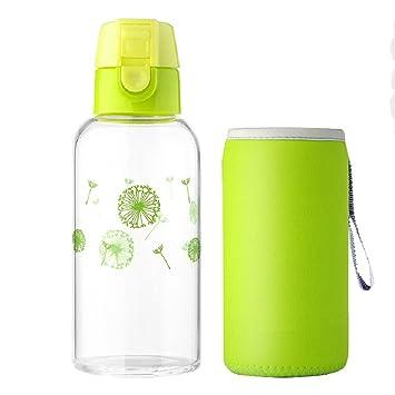 TAMUME 400ML Taza de Vidrio con Tapa Abatible, Vaso Portátil de Vidrio y Botella de