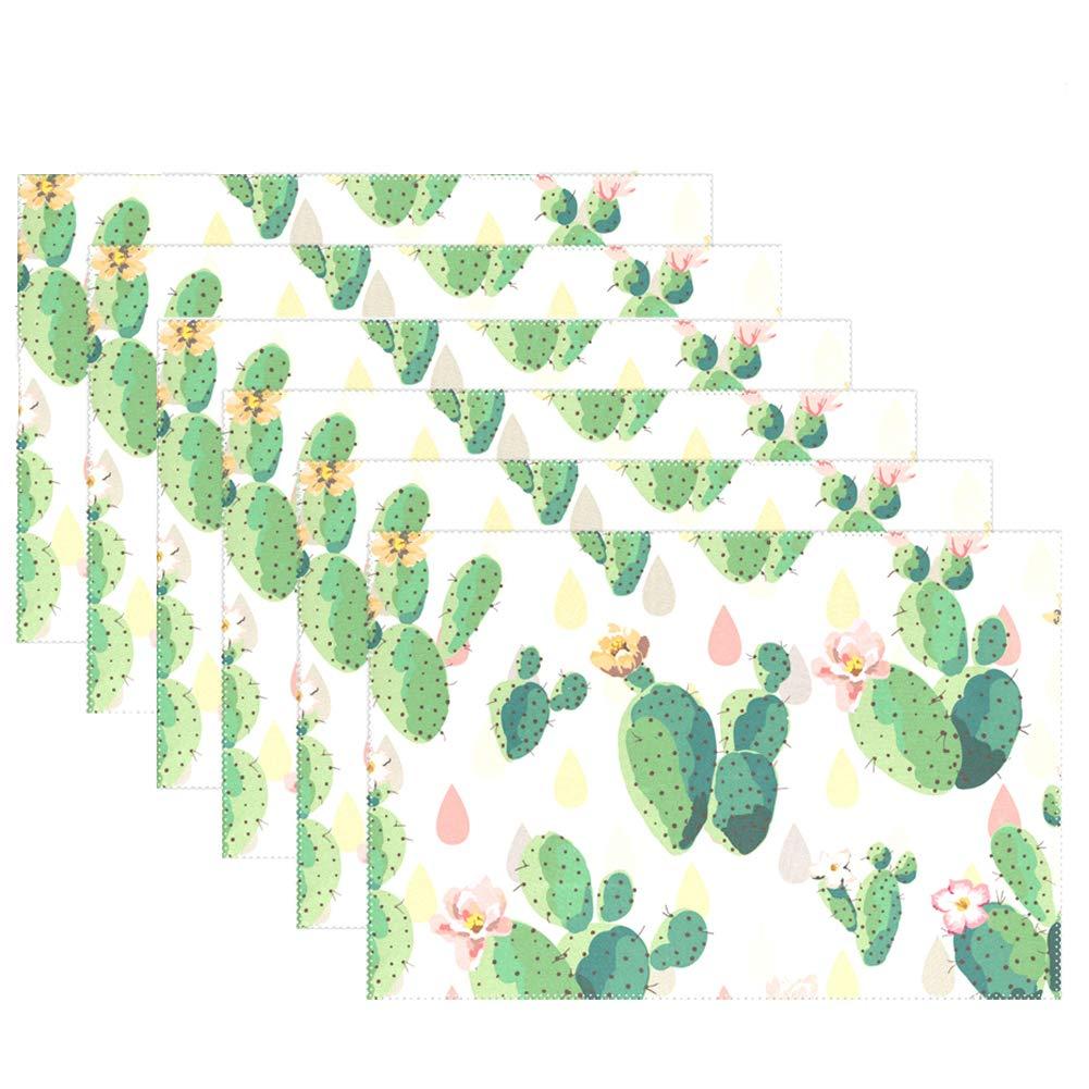 肌触りがいい wihveプレースマットWipeableダイニングTropical Plantsサボテン 12 x 12 x 18 inch 6 6 B075DCH96H, ヒガシクニサキグン:b5dca62e --- beyonddefeat.com