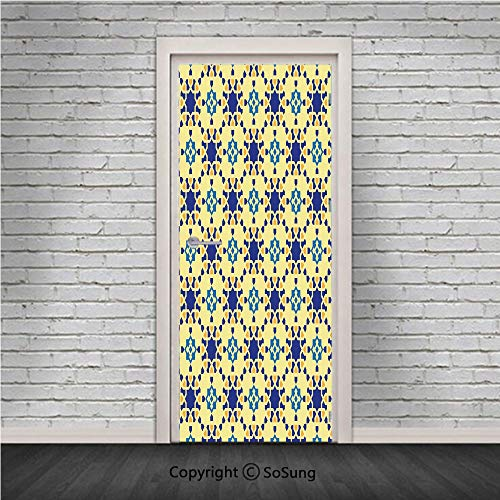 Antiques Persian Vase - Ethnic Door Wall Mural Wallpaper Stickers,Moroccan Ceramic Motif with Arabesque Persian Folk Effects Antique Design,Vinyl Removable 3D Decals 30.4x78.7/2 Pieces set,for Home Decor Violet Blue Yellow