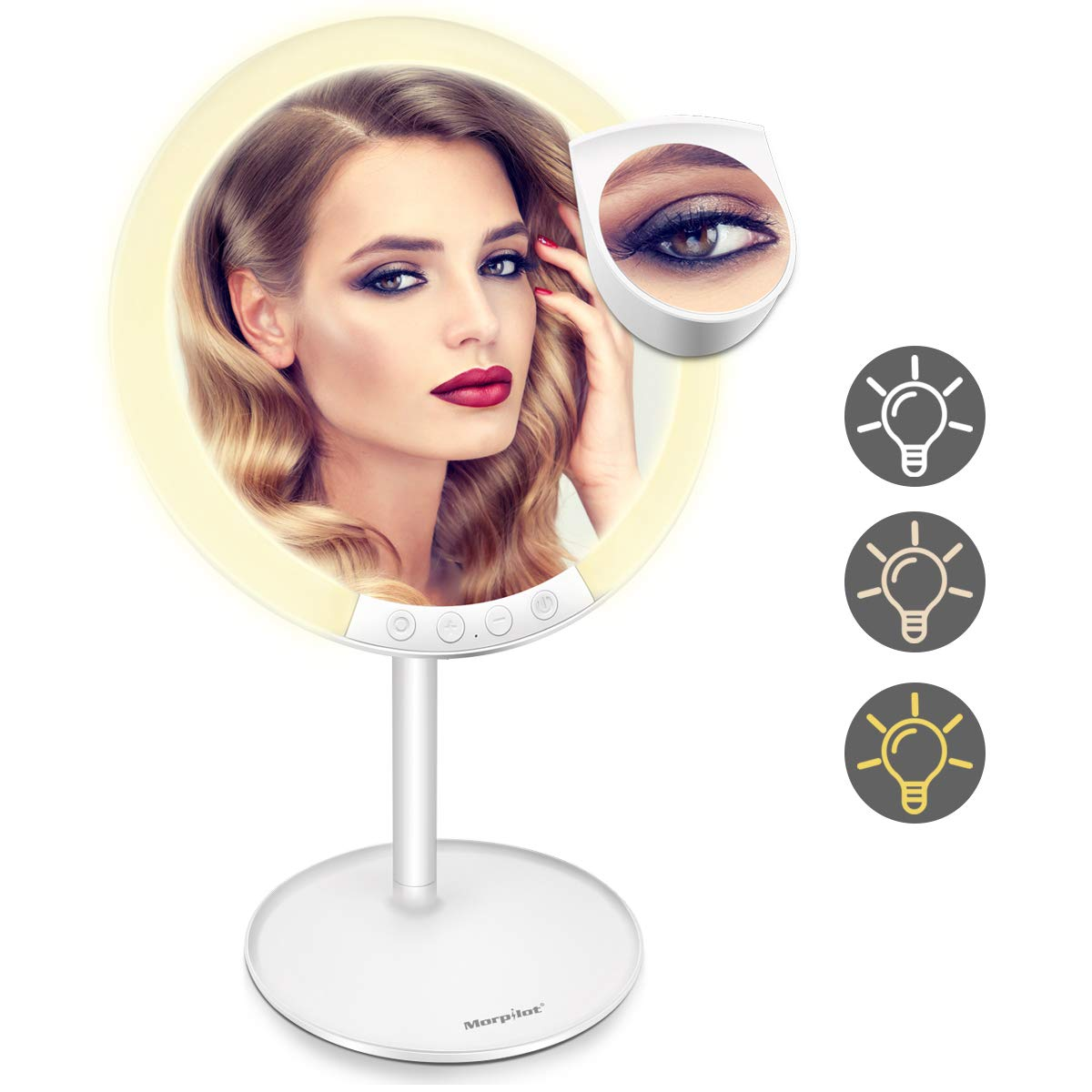 Lighted Makeup Mirror, Morpilot 7.8'' 1X Vanity LED Mirror with 3 Color Modes & 7-Level Adjustable Brightness, 120 Degree Rotation, USB Rechargeable with Small 7X Magnifying Mirror for Cosmetic