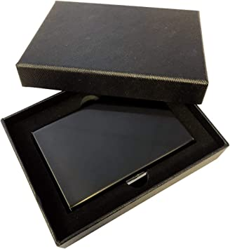 Ultra-Delgada RFID Bloqueo Tarjetas de Crédito Cartera de Acero Inoxidable Tarjetero de Visita con Caja de Regalo: Amazon.es: Equipaje