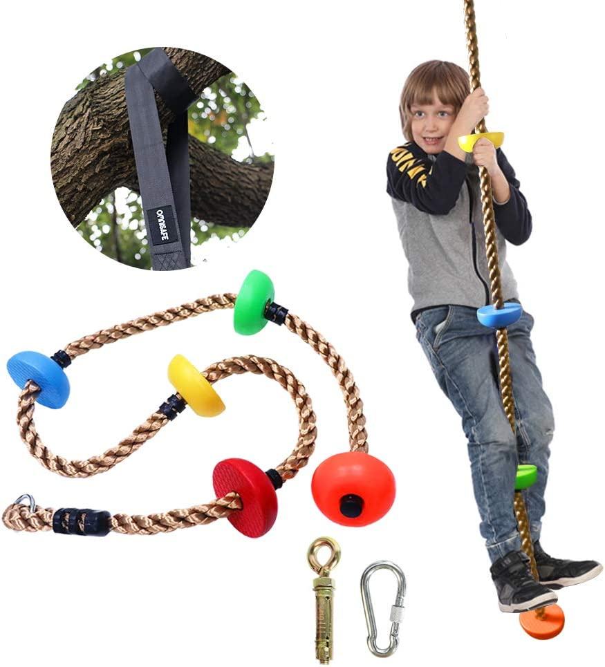 OMNISAFE 6.6ft Colorful Climbing Rope with Platforms, Kids Ninja Rope for Playground Swing Sets/Tree House Exercise Toy, with 5ft Hanging Strap & Carabiner & Expansion Bolt