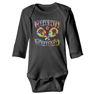 8595889cf Funny Peace Love Pickleball Tie Dye Baby Onesies Long Sleeve for Unisex  Boys Girls 100%