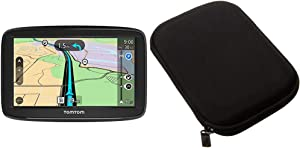 TomTom VIA 1525SE 5 Inch GPS Navigation Device with Free Lifetime Traffic Bundle with AmazonBasics Hard Travel Carrying Case for 5 Inch GPS, Black