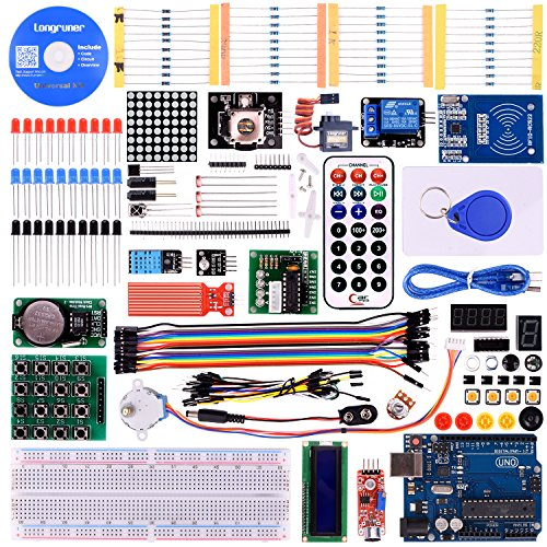 Longruner Upgrade RFID Master Starter Kit for Arduino with Tutorials, UNO R3, RC522, LCD1602, Breadboard and Sensors Modules Motor Servo Jumper Wire LK6 (Arduino kit) ()