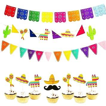 BESTOYARD Llama Mexicana Cupcake Topper Kit Papel Picado ...