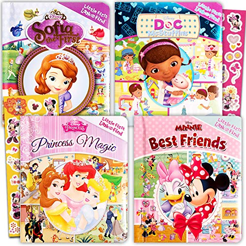 Disney Look and Find Books Set Kids Toddlers -- 4 Books w Stickers (Disney Princess, Minnie Mouse, Sofia the First, Doc McStuffins)