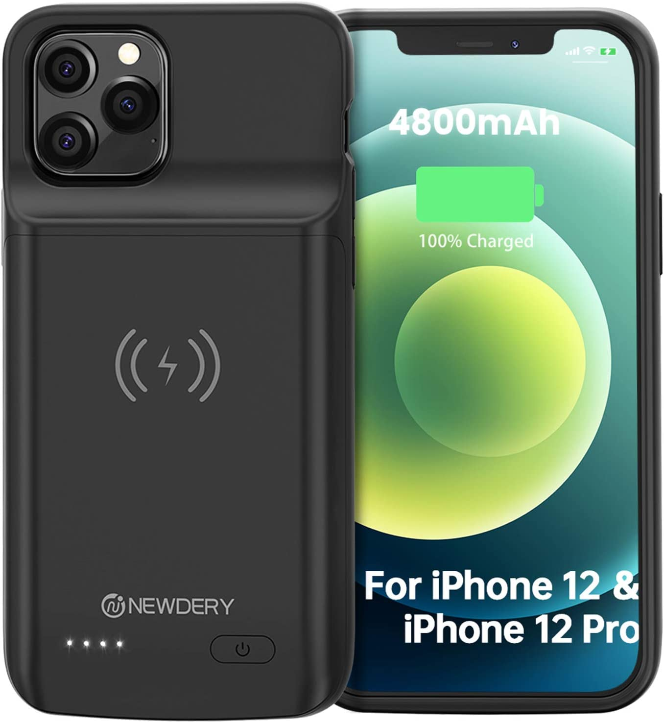 Battery Case for iPhone 12 Pro/iPhone 12, 4800mAh Slim Portable Protective Extended Charger Cover, qi Wireless Charging Supported, Compatible with iPhone 12 Pro/iPhone 12-6.1 inch