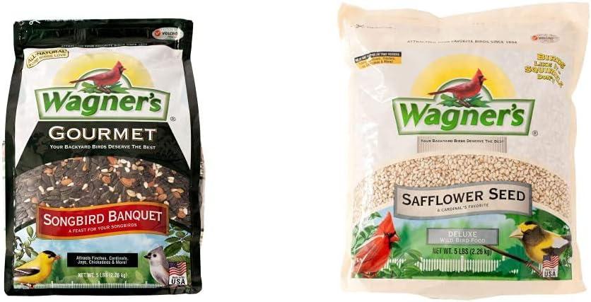 Wagner's 82042 Songbird Banquet Wild Bird Food, 5-Pound Bag & 57075 Deluxe Safflower Seed Wild Bird Food, 5-Pound Bag
