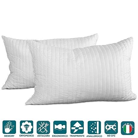 Evergreenweb – Par de Almohadas 40x60 Copo de Espuma viscoelástica para Cama o sofá, Relleno