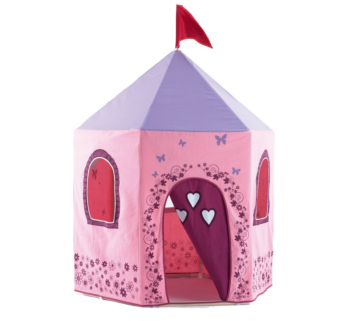 Fairy Princess Play Tent Castle with Pink and Purple Cotton Canvas