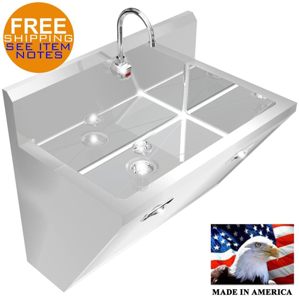 SURGEON'S HAND SINK 1 STATION 36'' HD STAINLESS STEEL #304 HANDS FREE MADE IN USA by BSM