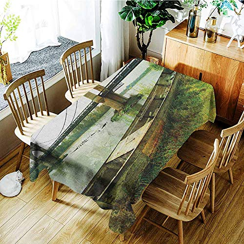 (XXANS Washable Tablecloth,Landscape,Bridge and Old Boat on Riverside Distressed Paint Style Nostalgic City Picture,Table Cover for Kitchen Dinning Tabletop Decoratio,W52x70L Green Grey)
