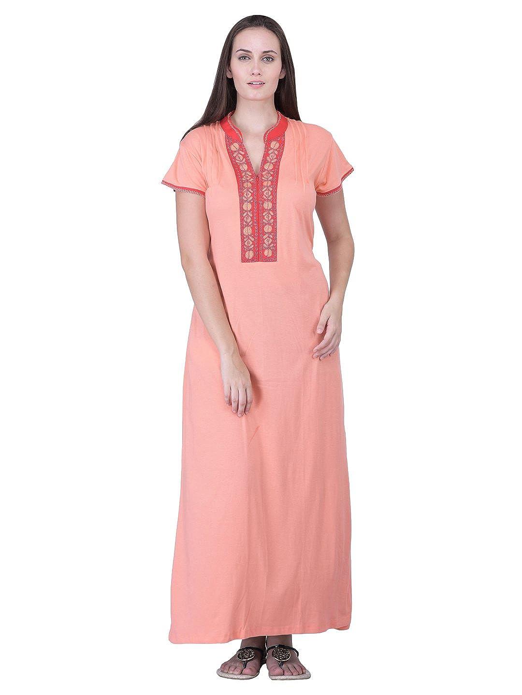 5168103742 HoneyDew - Womens Cotton Hoseiry Plain Nighty - Dark Peach Color ...