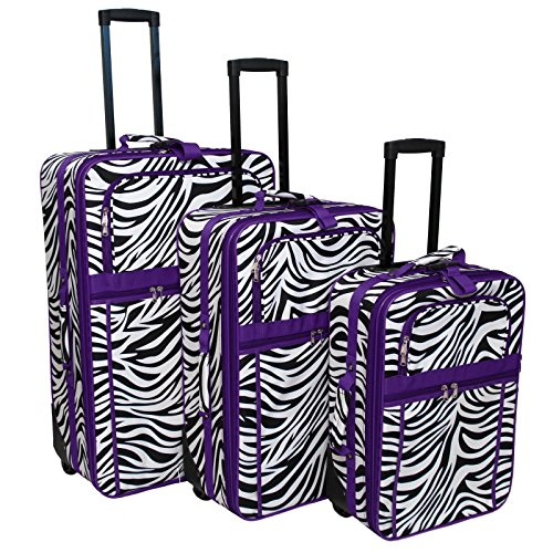 Purple Trim Zebra - World Traveler 3-Piece Expandable Upright Luggage Set, Dark Purple Trim Zebra