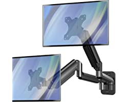 Monitor Wall Mount - Dual Gas Spring Monitor Wall Stand for 17 to 27 Inch Flat/Curved LCD Screen, Each Arm Hold up to 17.6lbs