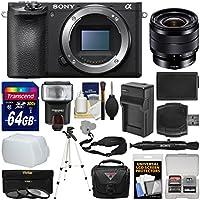 Sony Alpha A6500 4K Wi-Fi Digital Camera Body with 10-18mm f/4.0 Lens + 64GB Card + Case + Flash + Battery & Charger + Tripod + Kit