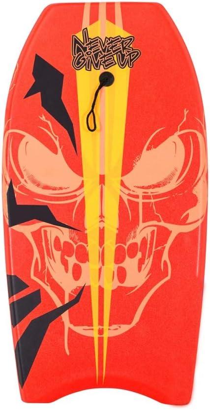 サーフィンボディボード ジュニアキッズ39インチボディボードスリックEpsブギーボード、ひも付き (色 : 赤, サイズ : 39 inch) 赤 39 inch