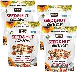 Hippie Snacks Organic Seed & Nut Clusters – Sweet Coconut, 4 x 80 gram pack