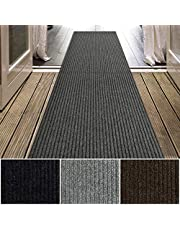 iCustomRug Spartan Weather Warrior Duty Indoor/Outdoor Utility Ribbed in 3ft,4ft,6ft Widths 70 Custom Sizes with Natural Non-Slip Rubber Backing 3' x 8' in Charcoal