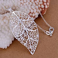 Women Silver Hollow Foliage Large Leaf Pendant Charm Chain Necklace Open Jewelry LOVE STORY