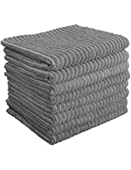 Gryeer Bamboo and Microfiber Kitchen Towels - Super Absorbent Dish Towels - One Side Ribbed One Side Smooth Tea Towels, 26x18 Inch, Pack of 8, Gray