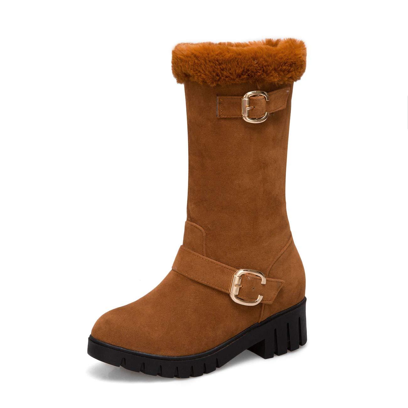 Hy Damen Stiefel Mühle Sand Winter Warm Große Größe Schneeschuhe Stiefel/Damen Komfort Winter Stiefel/Stiefelies Gelb/Schwarz / Dunkelbraun Größe: 32-43 (Farbe : C, Größe : 43)