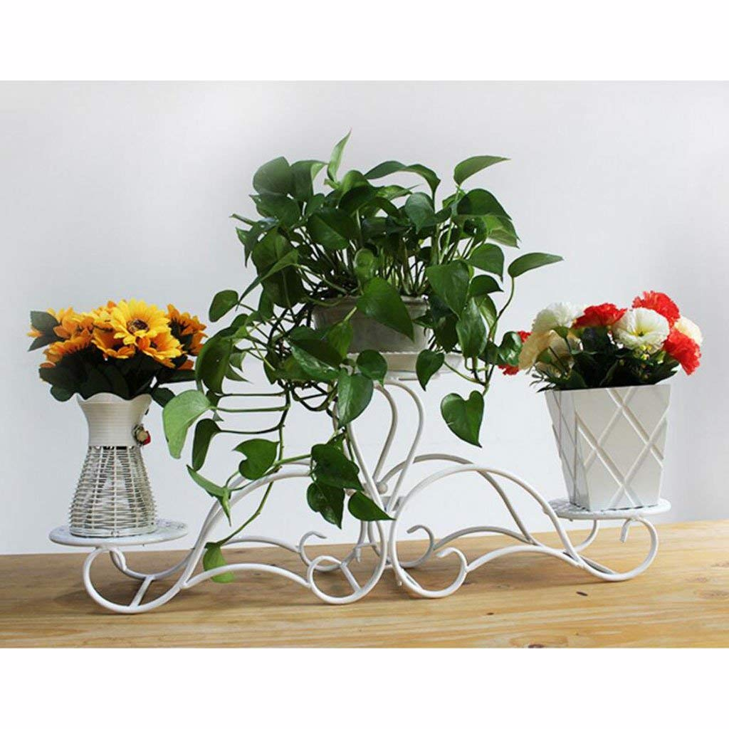 White Three pots Gifts & Decor Plant Stand Shelf Flower Racks Iron Art Flower Stand Indoor Balcony Multi-Storey Flower Pot Shelves Living Room Shelf (color   Black, Size   Five pots)