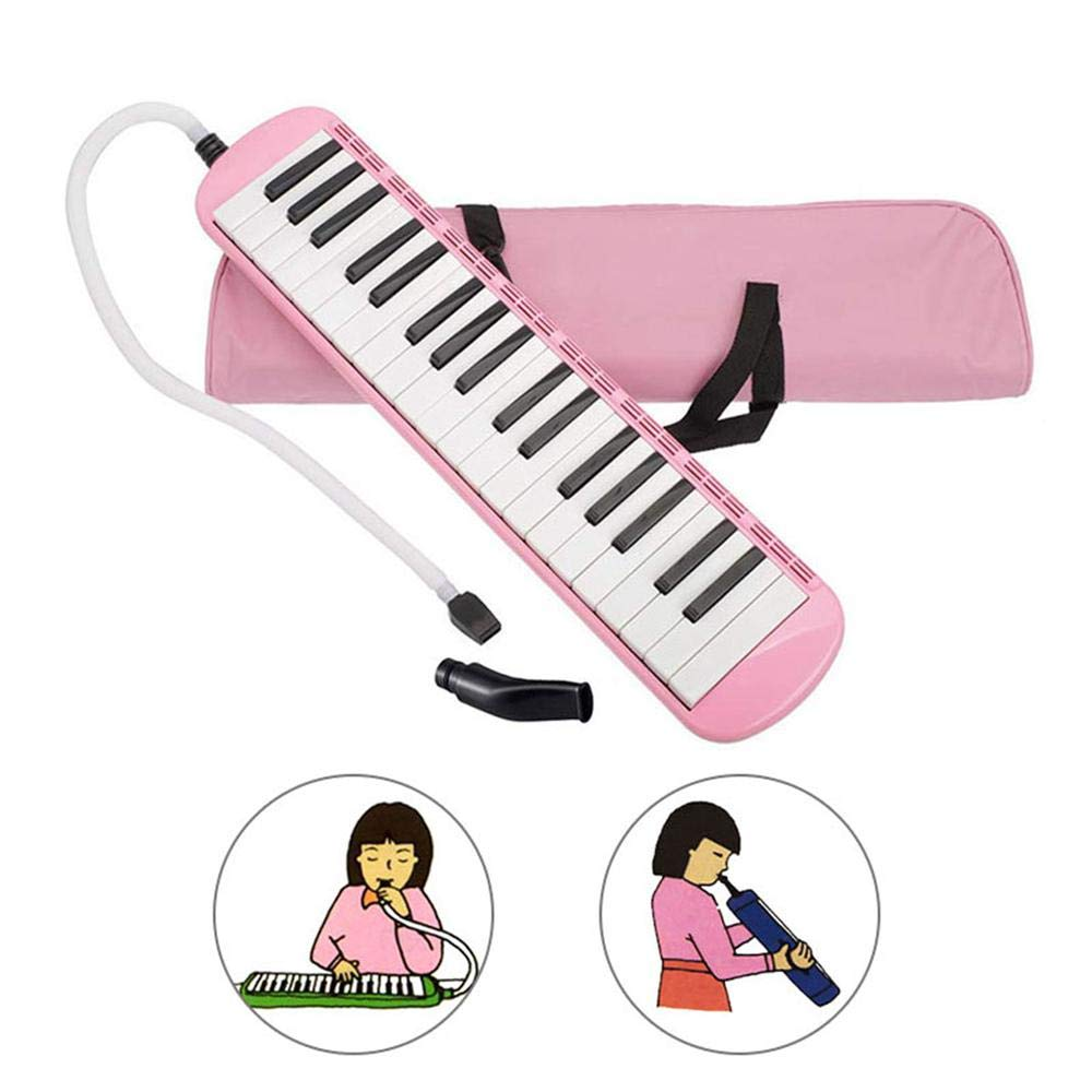 Pink Melodica Instrument 37 Key, MOGOI Musical Instrument with Mouthpiece Air Piano Keyboard with Carrying Bag