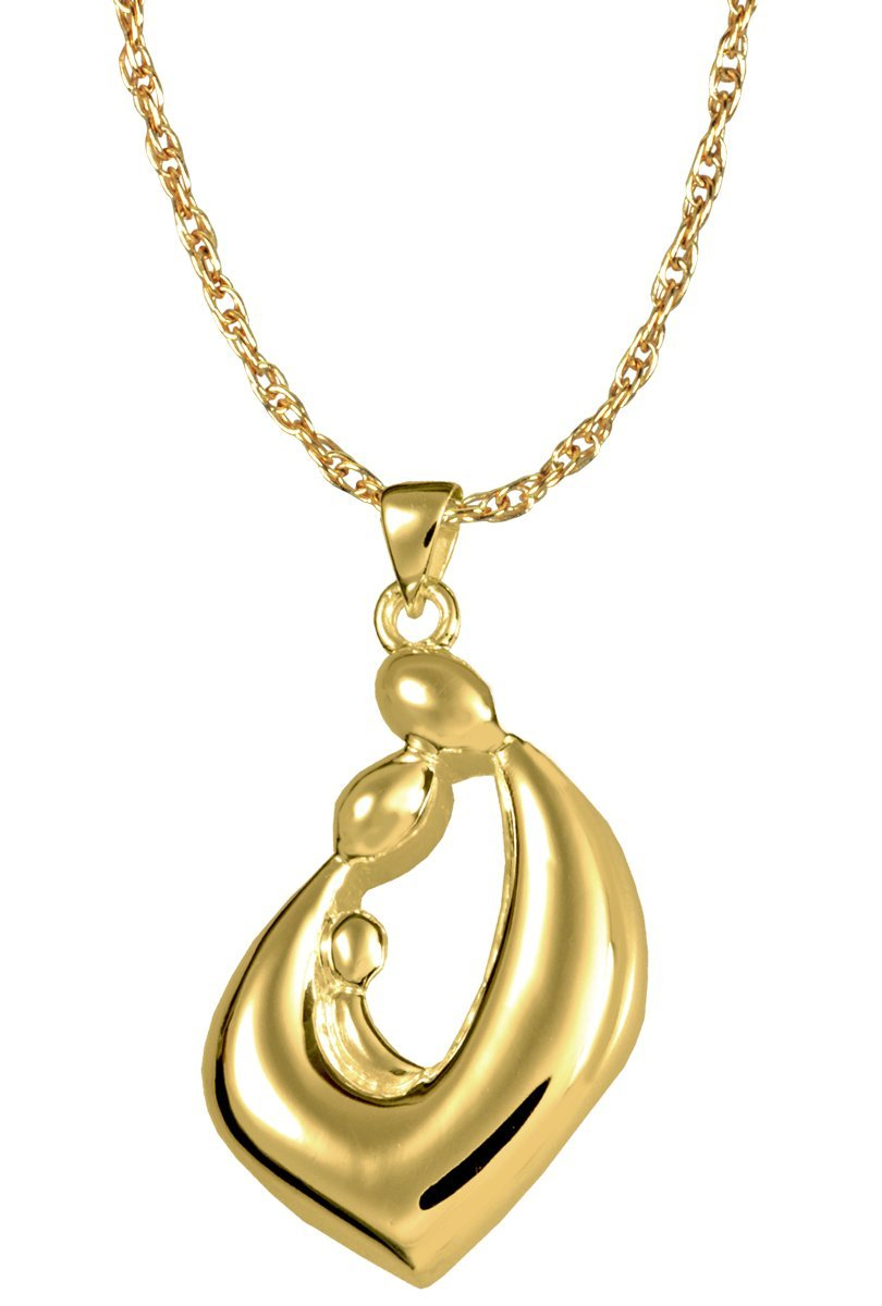14K Solid Yellow gold Memorial Gallery 0969yg Family Embrace Teardrop 14K Solid Yellow gold Cremation Pet Jewelry