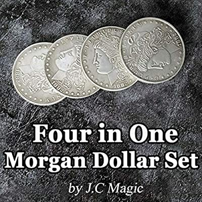 blue-ther Four in One Morgan Dollar Set Copper by J.C Magic Coin Magic Tricks Illusion Coin Appear/Vanish Jumping Close up Magic Gimmick: Toys & Games
