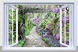 garden design pictures BANBERRY DESIGNS Pathway Picture - Purple Garden Pathway with Fiber Optic Lights - LED Canvas Garden Print with Window Frame