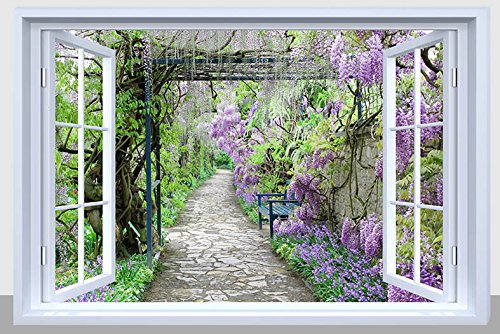 BANBERRY DESIGNS Pathway Picture - Purple Garden Pathway with Fiber Optic Lights - LED Canvas Garden Print with Window Frame ()