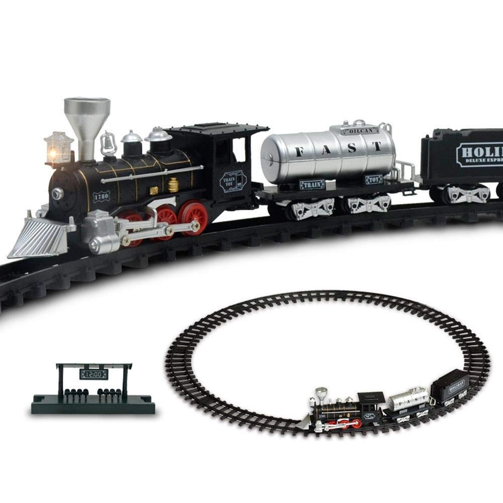 Amazingdeal Fun Early Education Toy Electric Dynamic Steam Train Model Classic Children Railroad Conveyance Toy Creative Education Toy