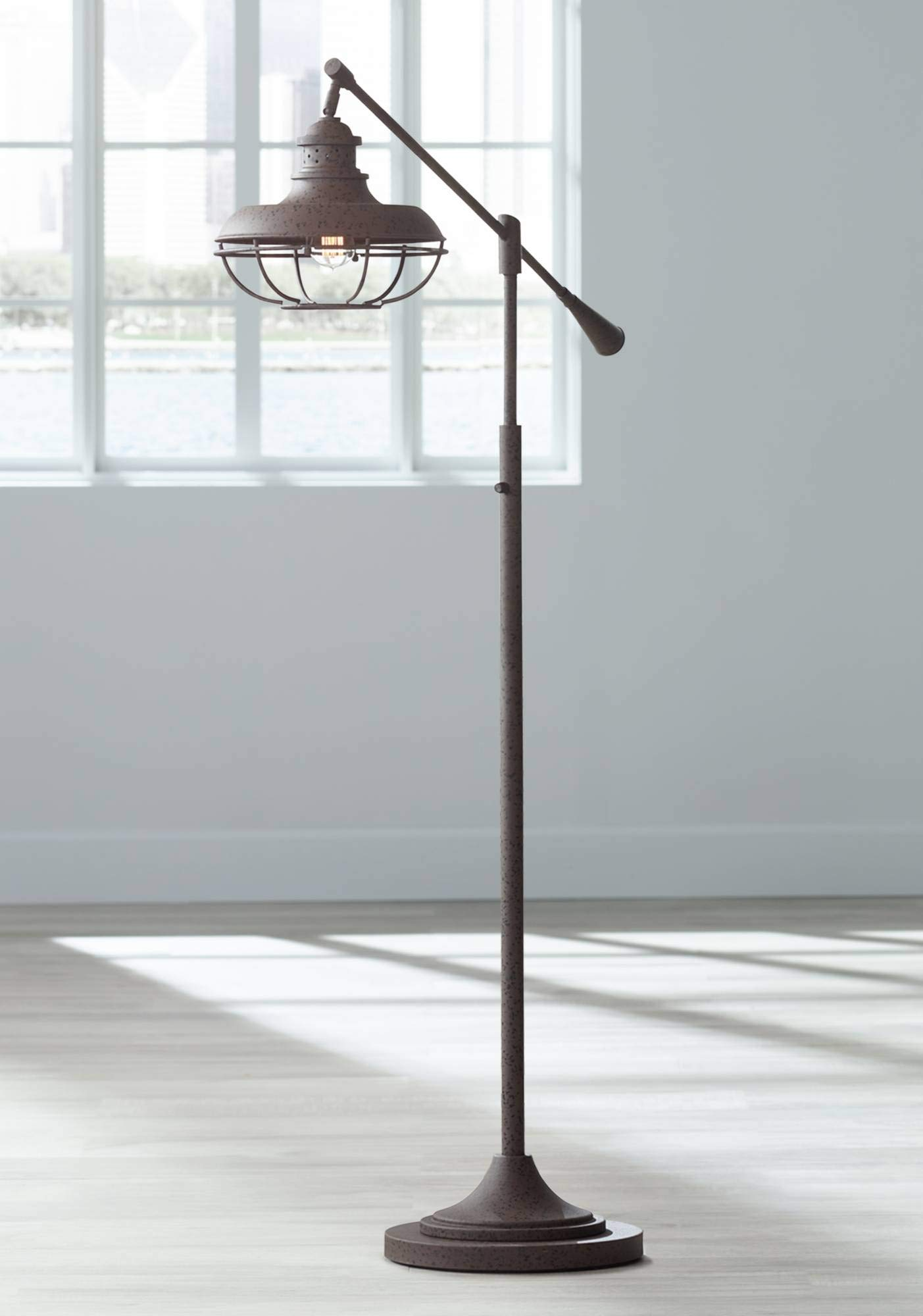 Franklin Park II Industrial Floor Lamp Boom Style Earthy Rust Metal Cage for Living Room Reading Bedroom Office - Franklin Iron Works
