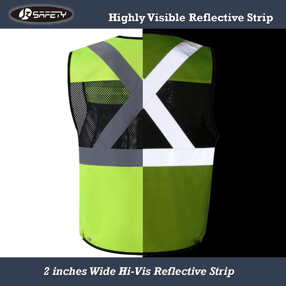 JKSafety 10 Pockets Class 2 High Visible Reflective Safety Vest Zipper Front Large Back Pockets Breathable and Mesh Lining (X-Large, Yellow Black) by JKSafety (Image #8)