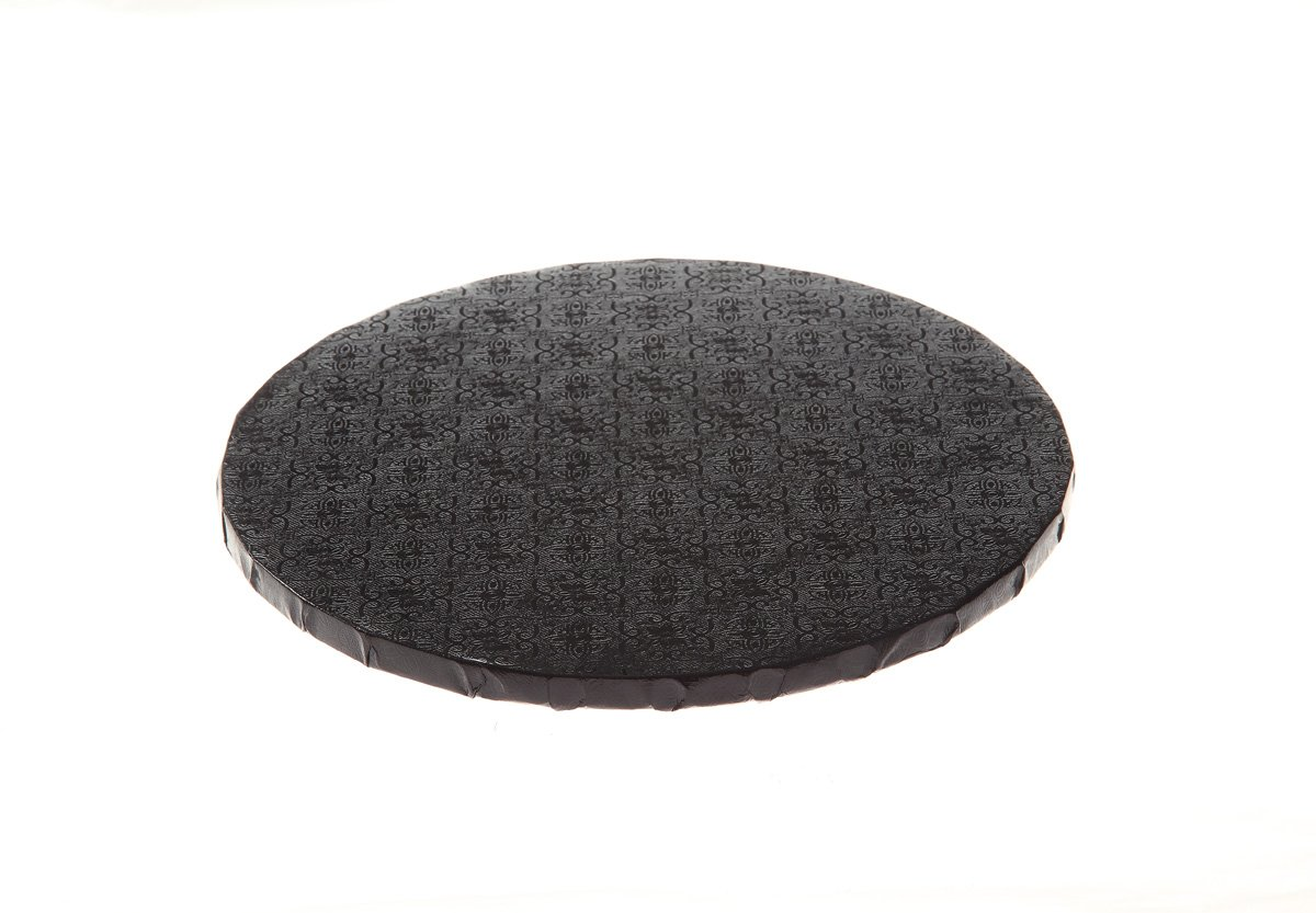 Pack of 12 Black Round Cake Drum W PACKAGING WPDRM14B 14 Covers Top and Sides 14x14x0.31 Corrugated with Coated Embossed Foil Paper B//C-Flute 1//2 Thick