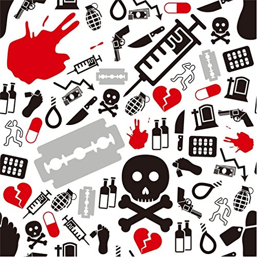 (CSFOTO 4x4ft Breaking Party Bachelor Party Background Photography Backdrop Rock Violence Style 80s 90s Party Decoration Danger Horror Gun Crazy Party Halloween Photo Studio Props Polyester)