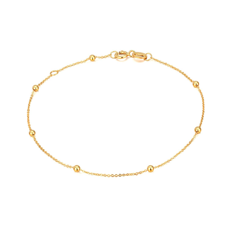 14K Gold Bracelets for Women, Dainty Ball Thin Chain Bracelets Jewelry (Yellow Gold, 14k) by SISGEM