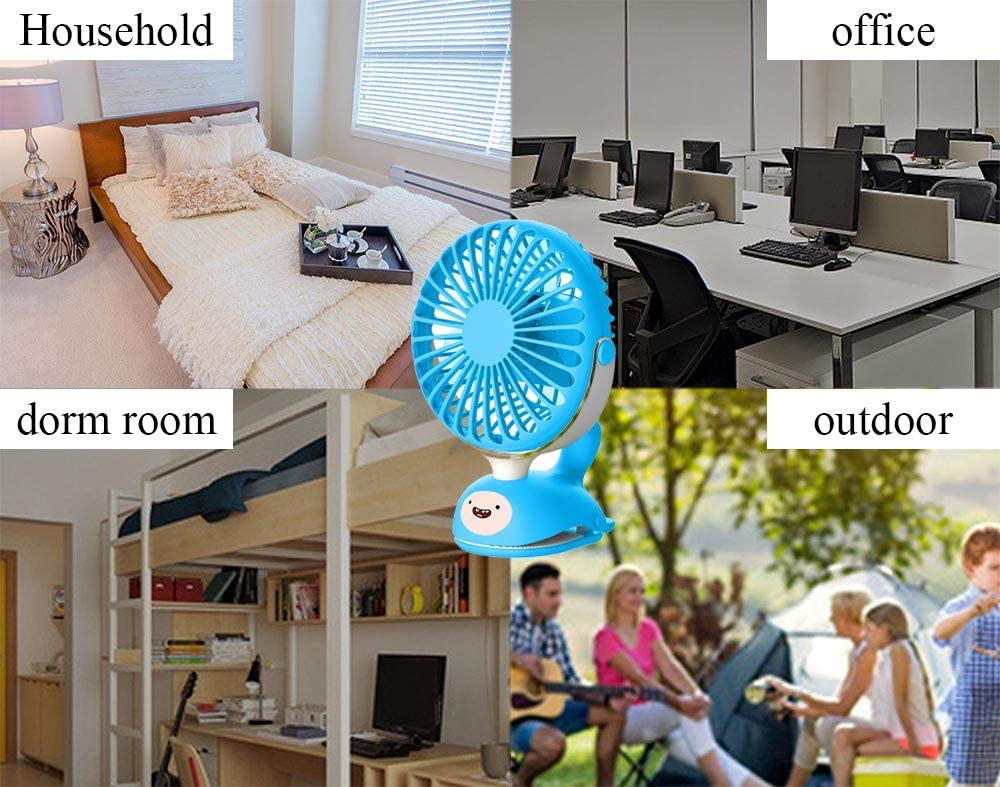 HLSH USB Portable Whale Clip Fan 360/° Rotation Desktop Mute for Baby Stroller Office Travel Student Gifts