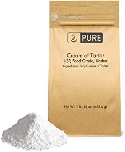 Pure Cream of Tartar (1 lb.), Eco-Friendly Packaging, All-Natural, Non-GMO, for Baking, Cleaning, DIY Bathbombs, More