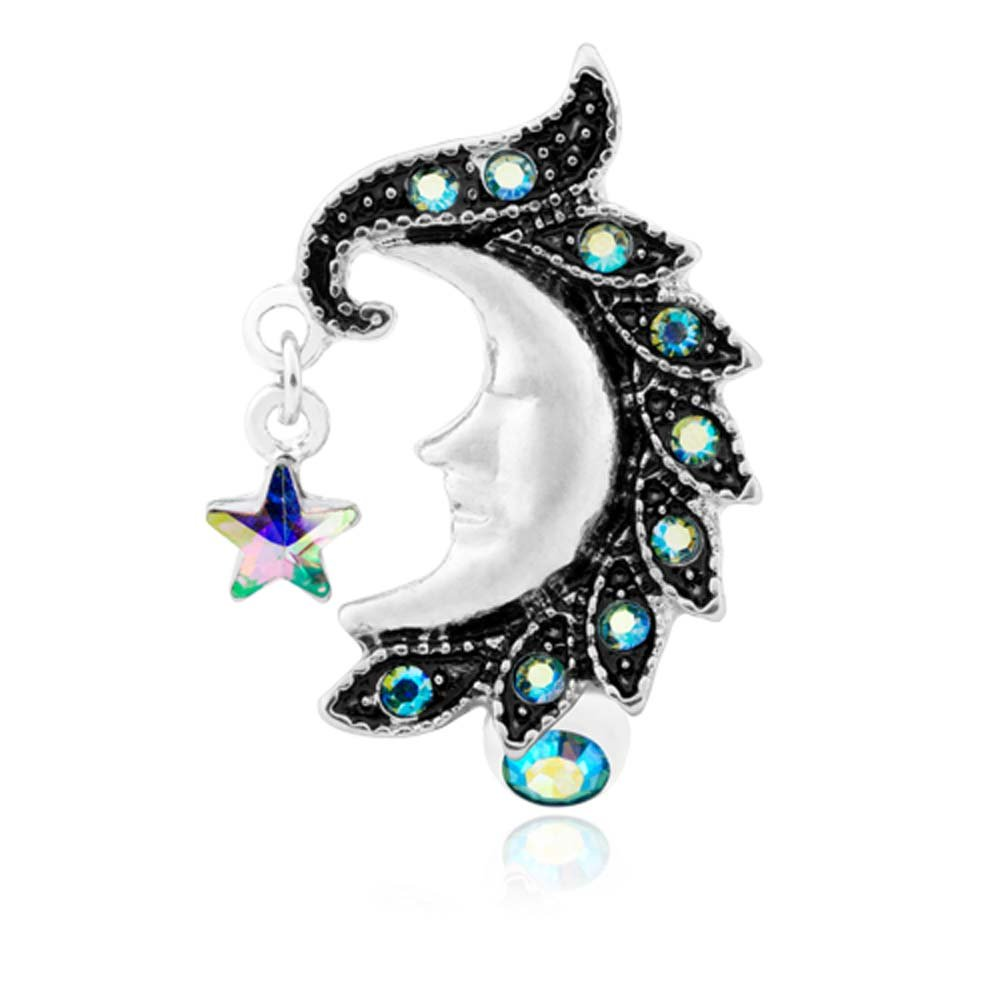 14G 1.6mm Heavenly Moon Face Reverse Drop Top Belly Button Ring - Sold Individually