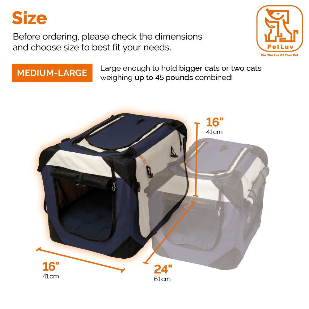 PetLuv Soothing Happy Cat Premium Soft Sided Cat Carrier & Travel Crate - Locking Zippers, Plush Nap Pillow, 2X Interior Room, Airy Windows, Sunroof - Reduces Anxiety (24'' x 16'' x 16'')