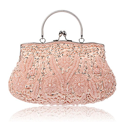 (SSMY Beaded Sequin Design Flower Evening Purse Large Clutch Bag (Pink))