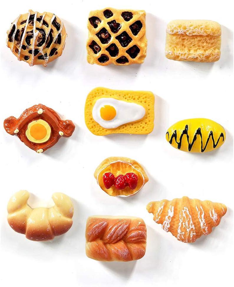 SIBAOLU 10pcs Simulation Food Bread Resin fridge magnets souvenir refrigerators magnetic Sticker home decor kitchen decoration accessories