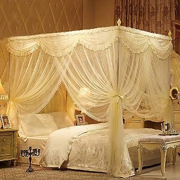 CJJC Europäische Elegante Prinzessin Bett Moskitonetz, Quadratische Bett  Baldachin Mädchen Warme Netting Vorhänge Für Queen